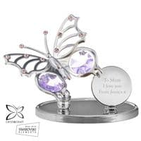 Personalised Crystocraft Butterfly Ornament - P0104H99 - Ideal gift for Christmas, Birthdays, Valentines, For Her, Anniversaries, Memorial.
